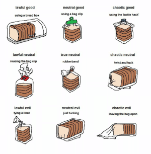 True, Tumblr, and Twitter: lawful good  neutral good  chaotic good  using a bread box  using a bag clip  using the 'bottle hack'  מה  lawful neutral  true neutral  chaotic neutral  reusing the bag clip  rubberband  twist and tuck  lawful evil  tying a knot  neutral evil  just tucking  chaotic evil  leaving the bag open nevver: Kalli, (because)