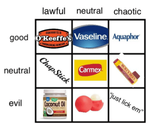 "meatswitch:  such-justice-wow:  totallyalegitspy:  such-justice-wow: blonde-70: i made a lip care alignment chart  Chaotic evil lmao  But Eos is pretty good, if expensive! I have pretty high standarts and I like them (and also the smell tbh they are really nice smelling work really good as a stim)  Saliva is free   You're why God took lips away from us: lawful neutral chaotic  Aquaphor  GUARANTEED .  good OT  Vaseline.  AROWORKING SKINCARE  Carmex  neutral  just lick em""  evil  Coconut Oil  EXTRA VIRGIN meatswitch:  such-justice-wow:  totallyalegitspy:  such-justice-wow: blonde-70: i made a lip care alignment chart  Chaotic evil lmao  But Eos is pretty good, if expensive! I have pretty high standarts and I like them (and also the smell tbh they are really nice smelling work really good as a stim)  Saliva is free   You're why God took lips away from us"