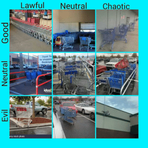 Alignment chart, but with shopping carts: Lawful  Neutral  Chaotic  Thank Yo  for shoppin  Bookman  iceal  alam  my stock photo  Evil  Neutral  Good Alignment chart, but with shopping carts