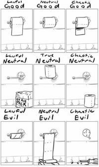 Memes, Poop, and True: Lawful  Newt  Cheat,  Good  d  Ga o o  G o o  True  Chaotic  Neut Neutral Neutral  Law R  Neutral Chant  Evil  Evil If you've never played D&D (or pretty much any tabletop rpg) and don't quite understand the alignment system, this is the best damn explanation I've ever seen.  I'm Lawful Good. A paladin of poop, if you will.