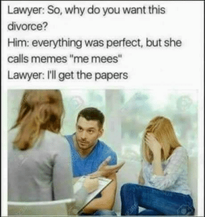 """Lawyer, Memes, and Work: Lawyer: So, why do you want  divorce?  Him: everything was perfect, but she  calls memes """"me mees""""  Lawyer: ll get the paper  neneza This is not gonna work anymore"""