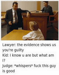 Holy shit: Lawyer: the evidence shows us  you're guilty  Kid: I know u are but what am  Judge: *whispers fuck this guy  is good Holy shit