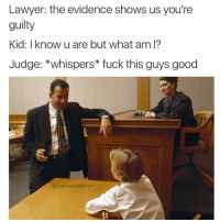 😂😂😂😂 @thebraintickle: Lawyer: the evidence shows us you're  guilty  Kid: I know u are but what am I?  Judge: *whispers fuck this guys good  @TheFunnylntrovert 😂😂😂😂 @thebraintickle