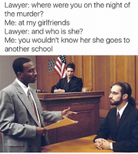 Judge: Since we do not know her, the defendant must be innocent: Lawyer: where were you on the night of  the murder?  Me: at my girlfriends  Lawyer: and who is she?  Me: you wouldn't know her she goes to  another school Judge: Since we do not know her, the defendant must be innocent