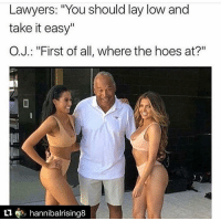 """Blackpeopletwitter, Hoes, and Juice: Lawyers: """"You should lay low and  take it easy""""  O.J.: """"First of all, where the hoes at?""""  t1, hannibalrising8 <p>Who got the juice (via /r/BlackPeopleTwitter)</p>"""