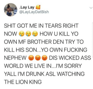Feel the rage !!!: .Lay Lay  @LayLayDatBish  SHIT GOT ME IN TEARS RIGHT  NOW O O O HOW U KILL YO  OWN MF BROTHER DEN TRY TO  KILL HIS SON...YO OWN FUCKING  O DIS WICKED ASS  NEPHEW O  WORLD WE LIVE IN...I'M SORRY  YALL I'M DRUNK ASL WATCHING  THE LION KING Feel the rage !!!