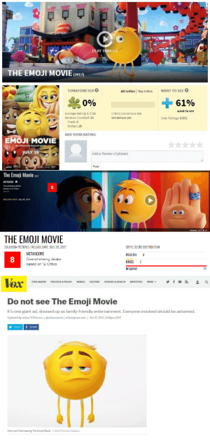 Emoji, Family, and Fresh: LAY TRAILER  THE EMOJI MOVIE(2o1)  TOMATOMETER  All Critics Top CriticsWANT TO SEE  Si  0%  61%  want to see  Average Rating: 1.7/10  Reviews Counted: 18  Critics Consensus: No  consensus yet.  User Ratings: 6,931  Fresh: 0  Rotten: 18  ADD YOUR RATING  EMOJI MOVIE  An  beyond words  JULY 28  Add a Review (Optional)  Post   The Emoji Movie 2017  METASCORE目  Overwhelming dislike  based on 12 Critics  See All  8  RELEASE DATE: July 28, 2017  Autoplay onOff   THE EMOJI MOVIE  COLUMBIA PICTURESI RELEASE DATE: JULY 28, 2017  METASCORE  Overwhelming dislike  based on 12 Critics  CRITIC SCORE DISTRIBUTION  POSITIVE 0  MIXED: 1  NEGATIVE  8   TOX  EXPLAINERS POLITICS & POLICY WORLD CULTURE SCIENCE & HEALTH IDENTITIES MORE, y f 。  Do not see The Emoji Movie  It's one giant ad, dressed up as family-friendly entertainment. Everyone involved should be ashamed.  Updated by Alissa Wilkinson | @alissamarie | alissa@vox.com | Jul 27, 2017, 3:00pm EDT  TWEET f SHARE  How you'll feel leaving The Emoji Movie. I Sony Pictures Classics wannabeanimator:The Emoji Movie releases to theaters tomorrow (July 28). Here's what people are saying about it.