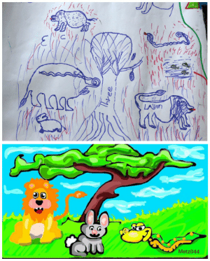 """mtzler:  bringbackourchildhood:  In April 2015 influential Snapchat artist Mike Metzler (Snapchat name Metz044) recreates a drawing by Peter in Houston, in the United States of America. Peter is a child refugee from the conflict affecting north-east Nigeria in a UNICEF supported Child Friendly Space in Dar es Salaam Refugee camp, Lake Region of Chad. Peter was separated from his family during the attack in Baga. His family is alive in Maiduguri and he has been able to speak with them on a cellphone. He misses the landscape and the animals at home. The environment is very different in Chad, more arid and lacking vegetation. Mr. Metzler says """"After reading Peter's story and looking at his image I realized how much I take the landscape for granted and how much I would miss the animals, trees and environment if I was forced to move to a completely different environment."""" The drawing was recreated in a positive children's cartoon stylized fashion, with an emphasis on green landscapes and colorful animals as described in Peter's story and picture.   I partnered with UNICEF to tell the story of Peter on Snapchat.  Very excited and proud to be a part of this campaign.: LAYON  QW  Metz044 mtzler:  bringbackourchildhood:  In April 2015 influential Snapchat artist Mike Metzler (Snapchat name Metz044) recreates a drawing by Peter in Houston, in the United States of America. Peter is a child refugee from the conflict affecting north-east Nigeria in a UNICEF supported Child Friendly Space in Dar es Salaam Refugee camp, Lake Region of Chad. Peter was separated from his family during the attack in Baga. His family is alive in Maiduguri and he has been able to speak with them on a cellphone. He misses the landscape and the animals at home. The environment is very different in Chad, more arid and lacking vegetation. Mr. Metzler says """"After reading Peter's story and looking at his image I realized how much I take the landscape for granted and how much I would miss the animals, trees a"""