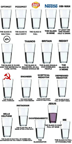 The Glass part 2 also thanks to all those kind strangers who wrote ideas under part 1, I hope you enjoy the sequel as well: lay's  Nestle OBI-WAN  OPTIMIST  PESSIMIST  AT LEAST WE  ARE HAVING  HALF A DRINK  THE GLASS  IS MINE  THE GLASS IS  THE GLASS IS  THE GLASS IS  HALF FULL  HALF EMPTY  FULL  EA  REDDIT  BRITAIN  THANOS  THE  GLASS IS  A MEME  THE GLASS IS 19.99$  THE GLASS IS  AND THE WATER DLC IS BALANCED, AS ALL  THINGS SHOULD BE  THE GLASS EQUALS  OUR HOMELESS  PEOPLE  5.99$ EXTRA  SCEPTICAL  REDDITOR  DEPRESSED  REDDITOR  ENGINEER  THE GLASS IS NOT  EXACTLY HALF FULL  YOU HAVE MORE  GLASS THAN NEEDED  THE GLASS IS  THE GLASS IS HALF  FULL OF EMPTYNESS  OURS, COMRADE  JESUS  INSTAGRAM  BELLE  DELPHINE  DOOFENSHMIRTZ  ME  THE GLASS IS HALF  FULL OF WINE  THE GLASS WILL BE A  MEME AFTER A FEW DAYS  THE GLASS IS HALF FULL OF GAMER GIRL  BATHWATER FOR YOU THIRSTY GAMER BOYS  THE  GLASSINATOR  THE GLASS IS FULL  OF POSSIBILITIES The Glass part 2 also thanks to all those kind strangers who wrote ideas under part 1, I hope you enjoy the sequel as well