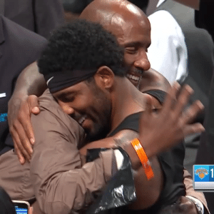 Kyrie gives his jersey to his Dad after the Nets victory! https://t.co/moPhLl7wOA: LAYS  R  $1 Kyrie gives his jersey to his Dad after the Nets victory! https://t.co/moPhLl7wOA