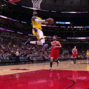 Off the spin, off the bounce, off the backboard!   LeBron put on a dunk exhibition to go with 36 PTS (15-23 FG) & 10 REB in the Lakers win against the Bulls.  https://t.co/A9ex9xjbdk: LAZE NEWT  Queue  BLAZE NE Off the spin, off the bounce, off the backboard!   LeBron put on a dunk exhibition to go with 36 PTS (15-23 FG) & 10 REB in the Lakers win against the Bulls.  https://t.co/A9ex9xjbdk