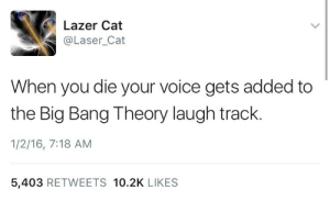 A valid reason not to commit suicide: Lazer Cat  @Laser_Cat  When you die your voice gets added to  the Big Bang Theory laugh track.  1/2/16, 7:18 AM  5,403 RETWEETS 10.2K LIKES A valid reason not to commit suicide