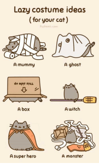 <p>Happy Halloween!</p>: Lazy costume ideas  (for your cat)  Pusheen.com  A mummy  A ghost  A box  A witch  A super hero  A monster <p>Happy Halloween!</p>