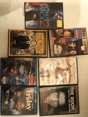 """/r/drunk/, pick me a movie Drunk on vodka and bourbon because I'm so indecisive too: LBERG  $ 1.99  RUMBLE THE CORRUPTOR  BRONX  JACKIE CHAN CHOW YUN-FAT  From the areators o  W-I D E S C R E E N  eafleme Bieeee THE ROOM  CASE IS EMPTY  DISC AT COUNTER  Two Great Movies On One  K E  N U  R E E V E S  JCH  LEONARDO DİCAPRIO  an You Rea  st Anyone  THE WOLF  MARTIN SCORSESE PcTURE  Experience this quirky new black comedy, it's a riot!""""  CHAPTER  5-2011 WISEAU-FILMS. All Rights Reserved  OF WALL STREET  PROMO  ice cube  chris tucker  SCORSESE DELIVERS ANOTHER CINEMATIC LANDMARK  PETER TRAVERS RollingStone  Movies  Digital Movie  Included  A lot can go down between Thursday and Saturday.  ANYWHERE /r/drunk/, pick me a movie Drunk on vodka and bourbon because I'm so indecisive too"""