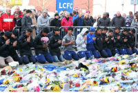 Beautiful, Football, and Memes: LCFC A dark time for the beautiful game. Players from the Fox Hunt Football Academy in Thailand pay their respects at Leicester City's stadium, after a helicopter crash there. Tap the link in our bio for more on the shocking incident. The club's Thai owner Vichai Srivaddhanaprabha is believed to have been in the helicopter when it came down, shortly after a Saturday night game against West Ham. It's not been confirmed who else was in the helicopter or what their condition is. Photo: Tim Keeton- EPA. Leicester LCFC Football Soccer Pray BBCNews