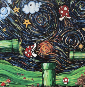 My friend painted this Starry Night / Mario mashup: lda My friend painted this Starry Night / Mario mashup
