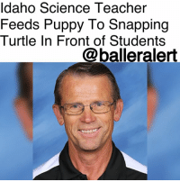 """ldaho Science Teacher  Feeds Puppy To Snapping  Turtle In Front of Students  @balleralert Idaho Science Teacher Feeds Puppy To Snapping Turtle In Front of Students - Blogged by: @RaquelHarrisTV ⠀⠀⠀⠀⠀⠀⠀⠀⠀ ⠀⠀⠀⠀⠀⠀⠀⠀⠀ An Idaho science teacher is accused of feeding a puppy to a snapping turtle in front of students, according to New York Post. ⠀⠀⠀⠀⠀⠀⠀⠀⠀ ⠀⠀⠀⠀⠀⠀⠀⠀⠀ Last Wednesday, after his class period was over, Robert Crosland allegedly fed a disfigured puppy to a snapping turtle and snake while his students watched. No reports say whether the puppy was alive or not. ⠀⠀⠀⠀⠀⠀⠀⠀⠀ ⠀⠀⠀⠀⠀⠀⠀⠀⠀ Crosland is a veteran teacher at Preston Junior High School and is said to be liked by former and current students. He's also well-known for housing exotic animals like snakes and other reptiles in his classroom. ⠀⠀⠀⠀⠀⠀⠀⠀⠀ ⠀⠀⠀⠀⠀⠀⠀⠀⠀ """"The event occurred well after students had been dismissed and were not part of any school-directed program,"""" Preston School District Superintendent Marc Gee said in a statement. Gee also wants to make sure """"this type of action could not be repeated"""" but would like parents to consider the """"care, effort and passion"""" Crosland has contributed through his years as a teacher. ⠀⠀⠀⠀⠀⠀⠀⠀⠀ ⠀⠀⠀⠀⠀⠀⠀⠀⠀ While Gee can see both sides of the issues others like animal activists, who feel Crosland's actions were """"disgusting"""" and """"sick,"""" have filed police reports against the science teacher. ⠀⠀⠀⠀⠀⠀⠀⠀⠀ ⠀⠀⠀⠀⠀⠀⠀⠀⠀ An investigation has started to """"determine the best course of action once all the facts of the matter have been ascertained."""" Meanwhile, Crosland is still on the online school directory and he has yet to be criminally charged or placed on leave, as of Monday."""