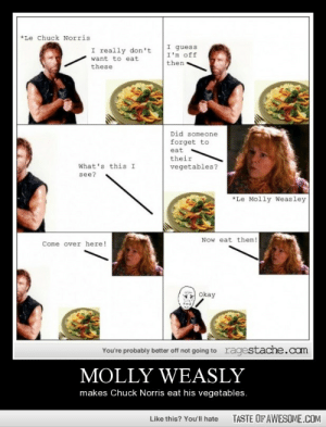 Molly Weaslyhttp://omg-humor.tumblr.com: *Le Chuck Norris  I guess  I'm off  I really don't  want to eat  then  these  Did someone  forget to  eat  their  What's this I  vegetables?  see?  *Le Molly Weasley  Now eat them!  Come over here!  Okay  ragestache.cam  You're probably better off not going to  MOLLY WEASLY  makes Chuck Norris eat his vegetables.  TASTE OF AWESOME.COM  Like this? You'll hate Molly Weaslyhttp://omg-humor.tumblr.com