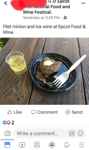 Filet MINION: le is at Epcot  aional Food and  Wine Festival.  Yesterday at 3:29 PM  Filet minion and ice wine at Epcot Food &  Wine.  Like  Send  Comment  OO 2  Write a comment...  GIF Filet MINION