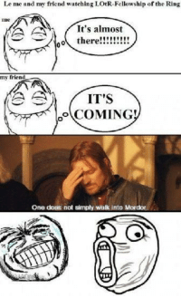 Walk Into Mordor: Le me and my friend watching LOtR-Fellowship of the Ring  It's almost  oo there  my friend  A AA  IT'S  COMING!  One does not simply walk into Mordor