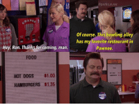 😂 parksandrec parksandrecreation ronswanson nickofferman: LE  @parks.n.rec  HANG  Of course. This bowling alley  has my favorite restaurant in  Pawnee.  Hey, Ron. Thanksfor coming, marn.  Thanks for coming, mam  FOOD  HOT DOGS $1.00  HAMBURGERS $1.35  KNOPE 😂 parksandrec parksandrecreation ronswanson nickofferman