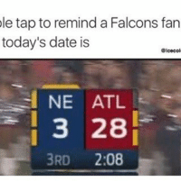 Lmao who remember (TAG A FALCONS FAN) ⬇️⬇️⬇️ Follow @icecoldsavage for more: le tap to remind a Falcons fan  today's date is  Gicecol  NE ATL  3 28  3RD  2:08 Lmao who remember (TAG A FALCONS FAN) ⬇️⬇️⬇️ Follow @icecoldsavage for more