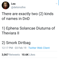 Twitter, DnD, and Irl: Lea  @delsinsfire  There are exactly two (2) kinds  of names in DnD  1) Ephena Solancae Diuturna of  Theviara ll  2) Smork Dirtbag  12:17 PM-03 Feb 19 Twitter Web Client  3,067 Retweets 10.6K Likes Me_irl