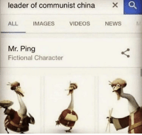 News, Videos, and China: leader of communist china  ALL  IMAGES  VIDEOS  NEWS  Mr. Ping  Fictional Character China becomes communist, October 1, 1949 (Colorized)