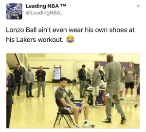 Ballin on a budget: Leading NBA TM  oLeadingNBA.  eeadin  BAP  Lonzo Ball ain't even wear his own shoes at  his Lakers workout. Ballin on a budget