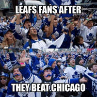 Time to plan the parade Leafs fans. That was a sick snipe by Matthews in OT though: LEAFS FANSAFTER.  LEA  0  THEY BEAT CHICAGO Time to plan the parade Leafs fans. That was a sick snipe by Matthews in OT though