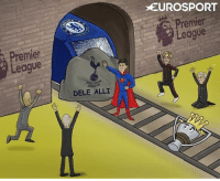 Chelsea, Memes, and Ally: League  DELE ALLI  EUROSPORT  Premier FINALLY! Dele Alli and Tottenham have halted the Chelsea train اخير توتنهام يوقف قطار تشيلسي Cartoon: @zezocartoons