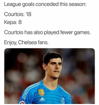 Enjoy Chelsea fans... ⚽️: League goals conceded this season:  Courtois: 18  Kepa: 8  Courtois has also played fewer games.  Enjoy, Chelsea fans.  FLEA  adidaS Enjoy Chelsea fans... ⚽️