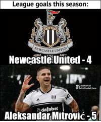 Newcastle United flop is doing better than Newcastle United https://t.co/4XWKg6lh8V: League goals this season:  ASTLE UNITED  NewcastleUnited-4  fTrollFootball  The TrollFootball Insta  AleksandarMitrović-5  dafabet Newcastle United flop is doing better than Newcastle United https://t.co/4XWKg6lh8V