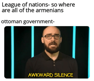Awkward, History, and Armenian: League of nations- so where  are all of the armenians  ottoman government-  AWKWARD SILENCE Armenian genocide