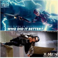 Frozen, Funny, and Future: LEAGUE  THE FLASH VS QUICKSILVER  WHO DID IT BETTER?  LIG ㅣ @DC.MARVEL.UNITE  X-MEN  DAYS OF FUTURE PAST Slow-Motion. 🤤⚡️ Imagine a funny scene or fight scene between TheFlash and QuickSilver in Slow Motion while everything around them is frozen in time. 😍👏🏽 Anyways, Comment Below who you think did it better… EzraMiller as BarryAllen from JusticeLeague OR EvanPeters as PietroMaximoff from XMEN !? 🤷🏽‍♂️ DCExtendedUniverse 💥 DCEU MARVEL SanDiegoComicCon ComicCon SDCC