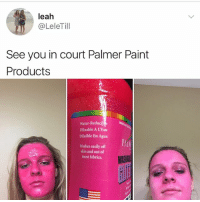 Memes, Paintings, and Paint: leah  @LeleTill  See you in court Palmer Paint  Products  Water-Reduci  Diluable A LEau  Diluible En Agua  Washes easily off  skin and out of  most fabrics This is the ultimate y tho