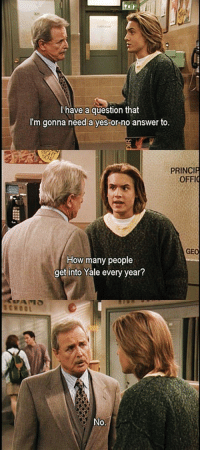 School, Yale, and How: leair  221  have a question that  I'm gonna need a yes-or-no answer to.  Te  PRINCIP  OFFI  GEO  How many people  get into Yale every year?  SCHOOL  0. <p>A Great Eric And Feeny Moment.</p>