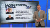 "Ben Swann delivers Pizzagate in a nutshell.: LEAKED PODESTA  E-MAILS  CLOSE RELATIONSHIP  WITH DENNIS HASTERT  HASTERTSERVING PRISON  SENTENCE  JUDGE CALLED HIM A  ""SERIAL CHILD MOLESTER Ben Swann delivers Pizzagate in a nutshell."