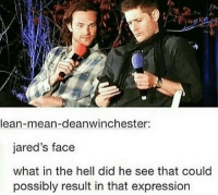 Lean, Memes, and Express: lean-mean-deanwinchester:  jared's face  what in the hell did he see that could  possibly result in that expression That was awesome 😂😂 ~Nathouツ