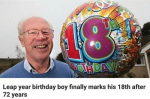 Does this count as cheating or is he one of us :/: Leap year birthday boy finally marks his 18th after  72 years Does this count as cheating or is he one of us :/