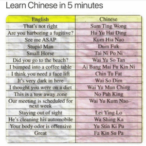 i learnt this at shoot today: Learn Chinese in 5 minutes  Chinese  English  That's not right  Are you harboring a fugitive?  See me ASAP  Stupid Man  Small Horse  Sum Ting Wong  Hu Yu Hai Ding  Kum Hia Nao  Dum Fuk  Tai Ni Po Ni  Did you go to the beach?  I bumped into a coffee table  I think you need a face lift  It's very dark in here  I thought you were on a diet  This is a tow away zone  Wai Yu So Tan  Ai Bang Mai Fu Kin Ni  Chin Tu Fat  Wai So Dim  Wai Yu Mun Ching  No Pah King  Our meeting is scheduled for  next week  Staying out of sight  He's cleaning his automobile  Your body odor is offensive  Great  Wai Yu Kum Nao  Lei Ying Lo  Wa Shing Ka  Yu Stin Ki Pu  Fa Kin Su Pa i learnt this at shoot today