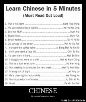 Chinesehttp://omg-humor.tumblr.com: Learn Chinese in 5 Minutes  (Must Read Out Loud)  1. That's not right.  2. Are you harbouring a fugitive..  3. See me ASAP..  4. Stupid Man....  ...Sum Ting Wong  .Hu Yu Hai Ding  ..Kum Hia  ..Dum Fuk  5. Small Horse .  ...Tai Ni Po Ni  6. Did you go to the beach..  7. I bumped the coffee table..  8. I think you need a face lift.  9. It's very dark in here..  10. I thought you were on a diet..  11. This is a tow away zone.  12. Our meeting is scheduled for next week.   13. Staying out of sight. .  ..Wai Yu So Tan  .Ai Bang Mai Fa Kin Ni  ..Chin Tu Fat  ...Wai So Dim  ..Wai Yu Kum Ching  .No Pah King  .Wai Yu Kum Nao  .Lei Ying Lo  14. He's cleaning his automobile..  ..Wa Shing Ka  15. Your body odor is offensive...  16. Great . .  ..Yu Stin Ki Pu  ..Fa Kin Su Pah  CHINESE  its never been so easy  TASTE OF AWESOME.COM Chinesehttp://omg-humor.tumblr.com