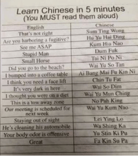 "Memes, Beach, and Chinese: Learn Chinese in 5 minutes  (You MUST read them aloud)  English  Chinese  That's not right  Sum Ting Wong  Are you harboring a fugitive?Hu Yu Hai L  Kum Hia Nao  Dum Fuk  Tai Ni Po Ni  Wai Yu So Tan  See me ASAP  Stupid Man  Small Horse  Did you go to the beach?  I bumped into a coffee table Ai Bang Mai Fu Kin Ni  I think you need a face lift  It's very dark in here  Chin Tu Fat  Wai So Dim  I thought you were on a dietWai Yu Mun Ching  This is a tow away zone  Our meeting is scheduled for  No Pah King  Wai Yu Kum Nao-  next week  Staying out of sight  He's cleaning his automobile  Your body odor is offensive  Lei Ying Lo  Wa Shing Ka  Yu Stin Ki Pu  Great  Fa Kin Su Pa <p>Chinese translation for English speakers via /r/memes <a href=""https://ift.tt/2r5XX0U"">https://ift.tt/2r5XX0U</a></p>"