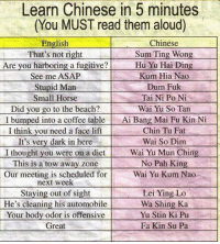 <p>Learn Chinese In Five Minutes.</p>: Learn Chinese in 5 minutes  (You MUST read them aloud)  English  That's not right  Are you harboring a fugitive?  See me ASAP  Stupid Marn  Small Horse  Did you go to the beach?  I bumped into a coffee table  I think vou need a face lift  It's very dark in here  I thought you were on a diet  This is a tow away zone  Our meeting is scheduled for  Chinese  Sum Ting Wong  Hu Yu Hai Ding  Kum Hia Nao  Dum Fuk  Tai Ni Po Ni  Wai Yu So Tan  Ai Bang Mai Fu Kin N  Chin Tu Fat  Wai So Dim  Wai Yu Mun Ching  No Pah King  Wai Yu Kum Nao  next week  Staying out of sight  He's cleaning his automobile  Your body odor is offensive  Great  Lei Ying Lo  Wa Shing Ka  Yu Stin Ki Pu  Fa Kin Su Pa <p>Learn Chinese In Five Minutes.</p>