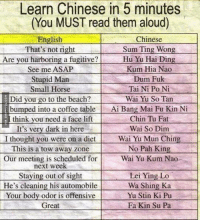 Learn Chinese In Five Minutes http://www.damnlol.com/learn-chinese-in-five-minutes-90289.html: Learn Chinese in 5 minutes  (You MUST read them aloud)  Chinese  English  That's not right  Sum Ting Wong  Are you harboring a fugitive?  Hu Yu Hai Ding  See me ASAP  Kum Hia Nao  Dum Fuk  Stupid Man  Small Horse  Tai Ni Po Ni  Did you go to the beach?  Wai Yu So Tan  bumped into a coffee table  Ai Bang Mai Fu Kin Ni  think you need a face lift  Chin Tu Fat  Wai So Dim  It's very dark in here  I thought you were on a diet  Wai Yu Mun Ching  No Pah King  This is a tow away zone  Wai Yu Kum Nao  Our meeting is scheduled for  next week  Staying out of sight  Lei Ying Lo  He's cleaning his automobile  Wa Shing Ka  Your body odor is offensive  Yu Stin Ki Pu  Great  Fa Kin Su Pa Learn Chinese In Five Minutes http://www.damnlol.com/learn-chinese-in-five-minutes-90289.html