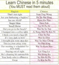 😂😂😂😂😂: Learn Chinese in 5 minutes  (You MUST read them aloud)  English  Chinese  Sum Ting Won  That's not right  Are you harboring a fugitive?  Hu Yu Hai Din  See me ASAP  Kum Hia Nao  Stupid Man  Dum Fuk  Tai Ni Po Ni  Small Horse  Wai Yu So Tan  Did you go to the beach?  umped into a coffee table  Ai Bang Mai Fu Kin Ni  I I think you need a face lift  Chin Tu Fat  It's very dark in here  Wai So Dim  l thought you were on a diet  Wai Yu Mun Chin  This is a tow away zone  No Pah Kin  Our meeting is scheduled for  Wai Yu Kum Nao  next week  Stayin  out of sight  Lei Ying Lo  He's cleaning his automobile  Wa Shing Ka  Your body odor is offensive  Yu Stin Ki Pu  Fa Kin Su Pa  Great 😂😂😂😂😂