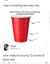 Beer, Memes, and Smh: Learn something new every day  Did You Know: The Lines on a Solo Cup  are Measurement Marks  12 ounces  Beer  _ 5 ounces  Wine  1 ounce  ←  Liquor  Court  @imcourty  wow i really be pouring 12 ounces of  liquor smh 😯😯😯😯😯😯😎❤❤❤