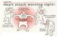 heart attack: Learn the  Heart attack warning signs!  Chest pressure,  squeezing, or pain  ausea, sweating,  or feeling faint  Pain in the  aw, neck, arms,  shoulders, or back  Shortness  of breath