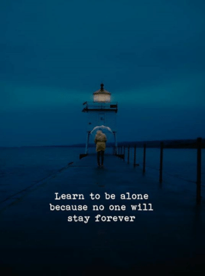 No One Will: Learn to be alone  because no one will  stay forever