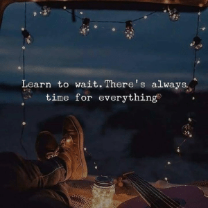 Time, For, and Always: Learn to wait. There's always.  time for everything